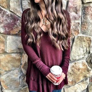 Sweaters - Waffle knit pullover long sleeve sweater tops